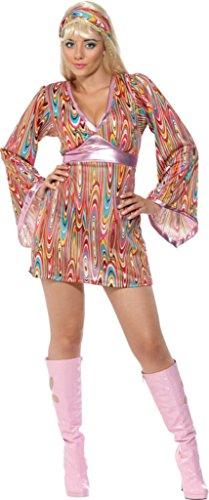 Smiffy's Women's Hippie Hottie Costume with Dress and Headband, Multi, Medium