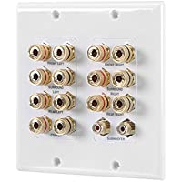 Long-way 7.1/7.2 Home Theater Speaker Wallplate Gold Plated Copper Banana Binding Post Coupler Type for Subwoofer