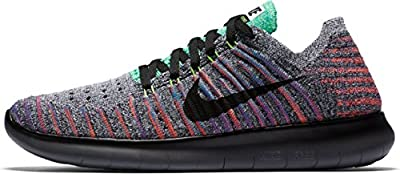 Nike Womens Free Rn Flyknit Running Shoe (8 B(M) US, WHITE/BLACK-TTL CRIMSON-BLUE LAGOON)