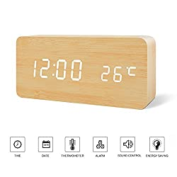 Desk Clock---FiBiSonic Wood Clock bamboo&white Digital Clock Alarm Clock for Kids Voice/Touch Control Desk Silent Modern Style Alarm Clock with Thermometer , Best Gifts for Friends/Families