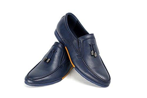 HOMBRE SIN CIERRES Inteligente Zapatos Casual Borla Mocasines Azul Marino