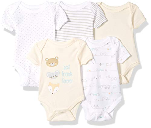 Unisex Baby Layette (Rene Rofe Baby Collection Unisex 5-Pack Bodysuits, Best Friends Forever, 6-9 Months)
