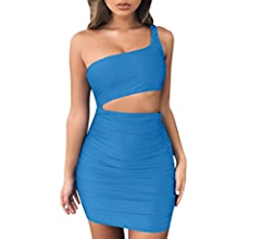 Amazon.com: Sexy Mini Dress Womens One-Shoulder Sleeveless Evening Party Dress Bodycon Dresses Toponly: Appliances