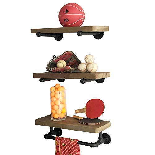 Industrial Pipe Shelves with Towel Rack DIY Floating Wood Shelves and Metal Bracket Pipes – Rustic Mounted Wall Shelf for Bathroom, Kitchen, Living Room, Bedroom – Decorative Farmhouse Shelving Units