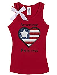 b0865046fdf4 Little Girls  4th of July Shirt American Princess Patriotic Tank Top