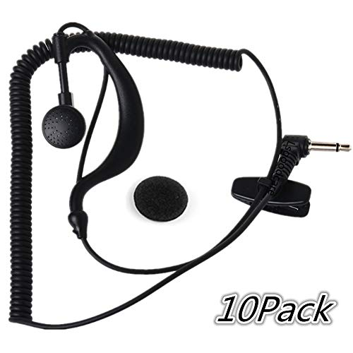 Lsgoodcare G Shape Soft Ear Hook 3.5MM 1Pin Listen/Receiver Only Earpiece Headset Compatible for 2 Way Motorola Icom Ham Radio Transceivers/HYS TC-617 Receiver, Pack of 10 ()