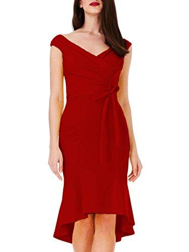 A collo V Vestito Personalizzati Di Elegante Pieghe Da Donne Ssyiz Delle Rosso Midi Coda Partito Pesce 4Yw01qwz