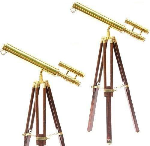 NauticalMart Nautical Brass Double Barrel Tripod Telescope 18Inches