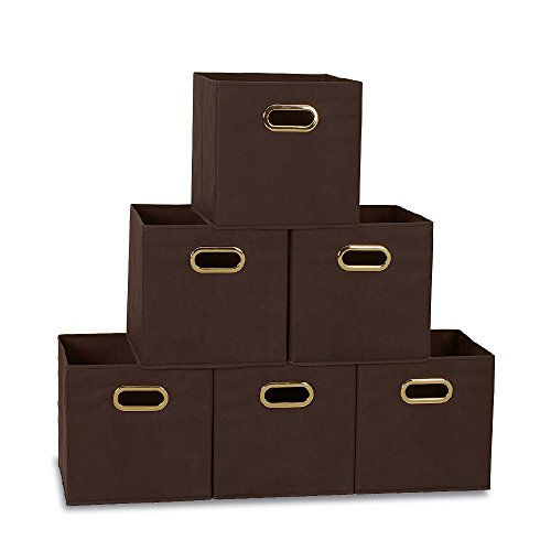 Brown Bins (Cloth Storage Bins Cubes Baskets Containers with Dual Plastic Handles for Home Closet Bedroom Drawers Organizers, Brown, Set of 6)