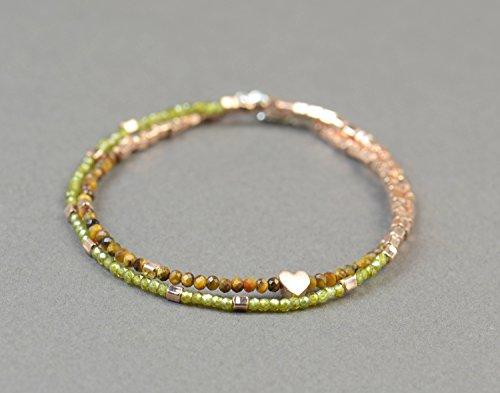 (Double strand multi gemstones and sterling silver vermeil rose beads bracelet.Dainty bracelet.Wrap.Vermeil Rose,Peridot,tiger eye)