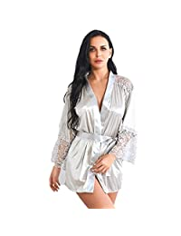 Amzeca Women Satin Silk Bathrobe Nightgown Pajamas Robe with Belt Sleepwear Lingerie