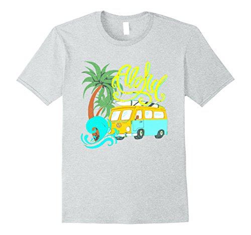 Mens Aloha Vintage Look Distressed Camper Surf T-Shirt XL Heather Grey