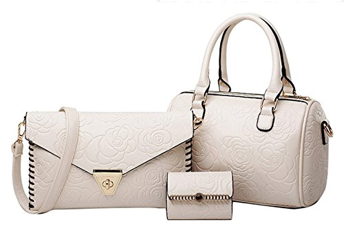 2016 Modern And Cheap Lady Bag Tote Bag Pu Leather Bag Three Pieces In One Set (white)
