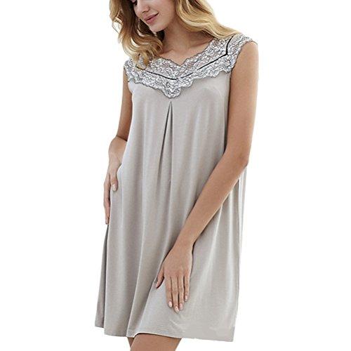 Zhhlinyuan Womens Solid color Home Sleeveless Sleep Skirt Ladies Charming Short Nightdress Gray