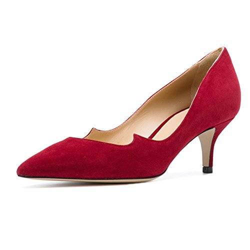 ELASHE Women Kitten Heels Pumps | Pointed Toe Cut Out Stiletto | 6.5cm Classic Court Shoes Red YylXZK