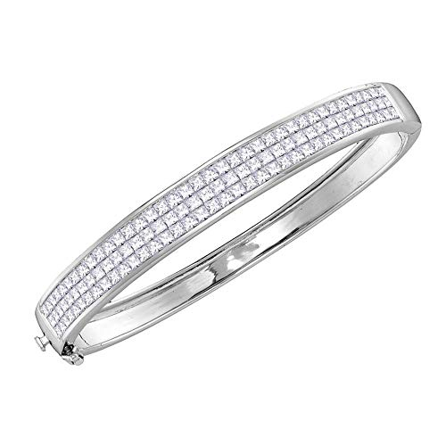 Mia Diamonds 14kt White Gold Womens Princess Diamond Bangle Luxury Bracelet (6.01cttw) (I1-I2)