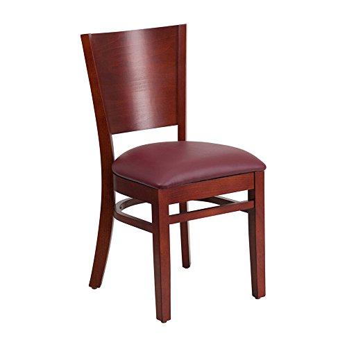 Offex Solid Back Mahogany Wooden Vinyl Upholstered Restaurant Chair - Burgundy Vinyl Seat