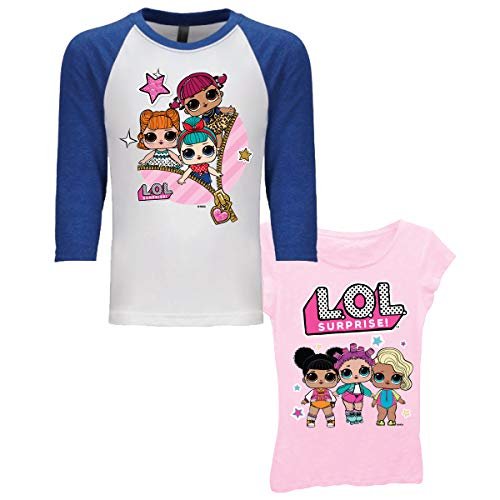 L.O.L. Surprise! Girls 2 Pack T-Shirt (Light Pink/Royal White, L-10/12) ()
