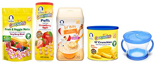 Gerber Baby Food Variety Pack of 5 - Assorted Baby Food Snacks with Snack Catcher