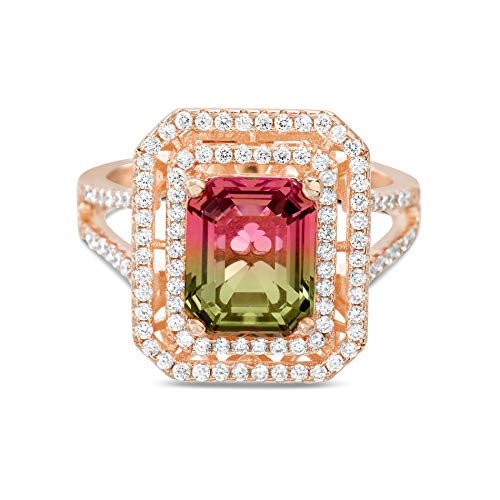 Pink Earring Tourmaline Emerald Cut - INSPIRED BY YOU. Emerald Cut Prong Set Simulated Watermelon Tourmaline and Round Cubic Zirconia Cocktail Ring for Women in Rose Gold Plated Sterling Silver (Size 6)