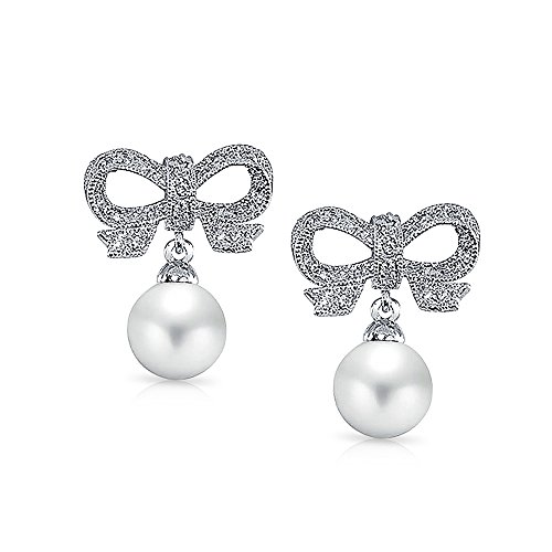 Vintage Style Pave CZ White Simulated Pearl Ribbon Bow Drop Earrings For Women For Bride Maid Prom Silver Plated Brass