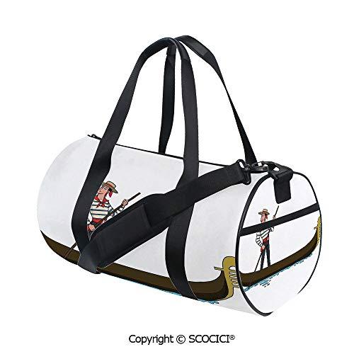 Crossbody Bags for Women Men,Illustration of Gondola in Romance City Venice European Symbol of Love Italian DecorBarrel Bag for Women and Men,(17.6 x 9 x 9 in) Brown White