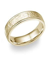 18K Gold Hammered Wedding Band