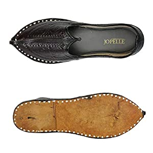 JOPELLE Men's Imprinted Black Leather Jodhpuri Mojaris