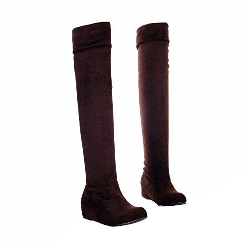 ENMAYER Mujeres Nubuck Material Plano Sobre las botas de rodilla Botas de estiramiento Zapatos de tacón oculto Marrón