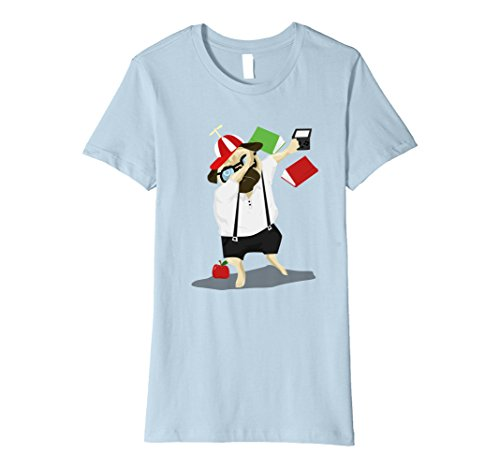 Geeky Halloween Costumes For Babies (Womens Dabbing Nerdy Pug Funny Geeky Dogs Graphic Tshirt XL Baby Blue)