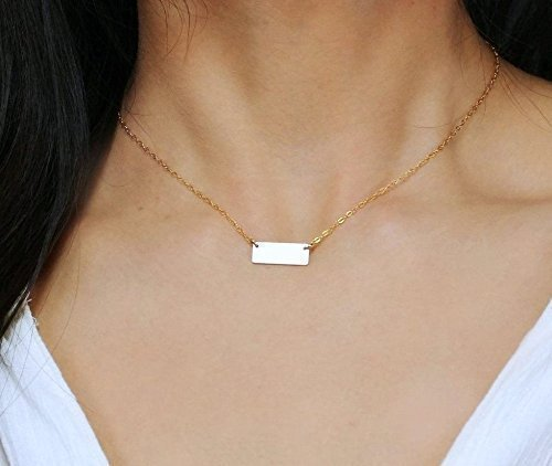 Amazon small 14k gold fill bar necklace personalized minimal small 14k gold fill bar necklace personalized minimal rectangle initial pendant necklace tiny name mozeypictures Gallery