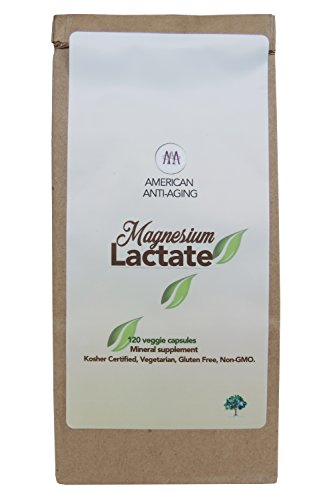 Magnesium Lactate 500 mg, 120 easy to swallow small Vegetarian capsules. Doctor formulated. High Absorption. Recycled Eco-Friendly Paper Bags for Original Purchases or Bottle Refills. Made in USA.