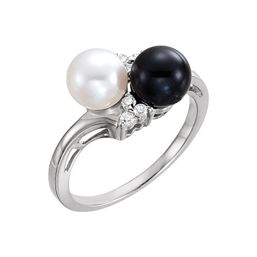 Bonyak Jewelry 14k White Gold Akoya Cultured Black White Pearl 1 10 CTW Diamond Ring – Size 7