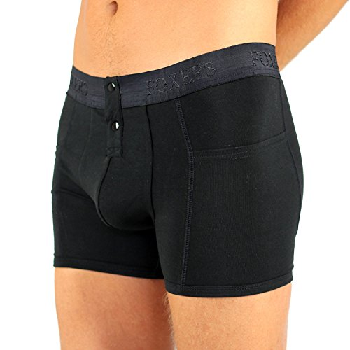 Foxers Men's Black Boxer Brief with Logo ()
