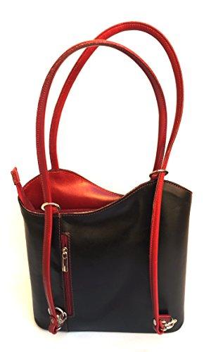 Superflybags Borsa A Mano O Zaino In Vera Pelle modello Micaela Prestige Made In Italy Nero Rosso