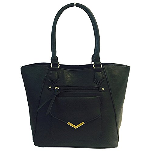 SALE Best Black Vegan Leather Tote Over the Shoulder Purse Satchel Bag Stylish Work Practical Unique Cool Fun Beauty Christmas Clearance Deal Gift Idea Under 30 Dollars for Her Women Teen Girl 2017