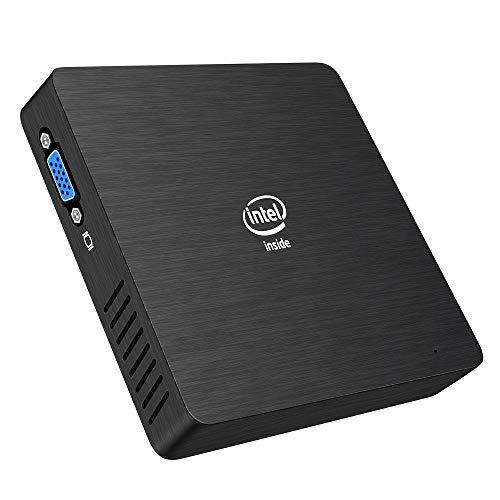 Fanless Mini PC, Intel x5-Z8350 HD Graphics Desktop Mini Computer Windows 10 Pro(64bit), DDR3L 2GB 32GB eMMC Built-in 2.4G/5G WiFi/BT 4.2/1000M LAN/HDMI/VGA Dual Output