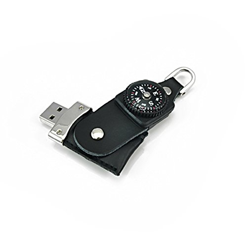 FEBNISCTE 8GB Compass Leather Design USB 2.0 Pen Drive Thumb Disk Black
