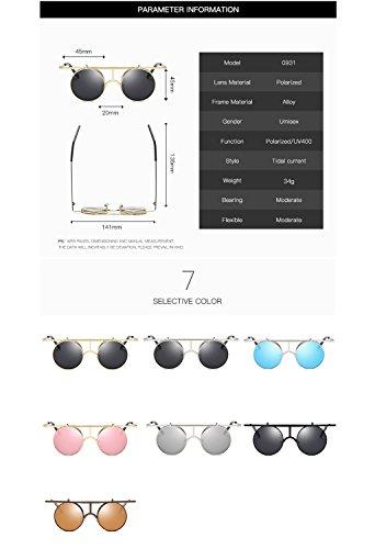 reflectante T2 de Eyewear mujeres polarizadas redondo hombres con UV400 HD sol lente ATNKE metal gafas Protección para Steampunk Aviator de marco wHnqXR8tZ