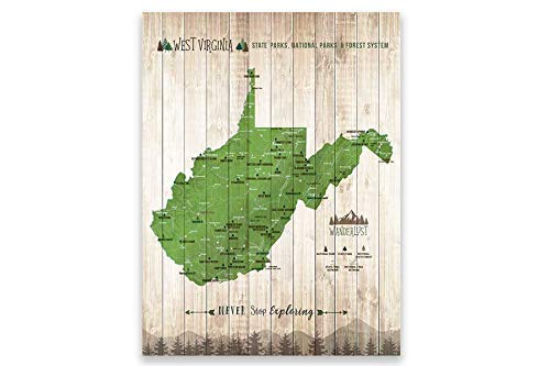 West Virginia State Park, Push Pin Map, Foam Mounted ... - Amazon.com