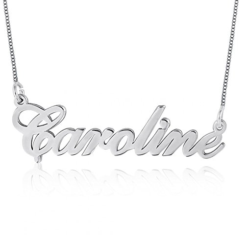 Ouslier 925 Sterling Personalized Silver Name Necklace Pendant Custom Made with Any Names 16