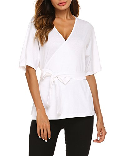 Womens Casual V Neck Belted Wrap Tunic Self Tie Front Blouse Shirts Tops White, XXL Belted V-neck Tunic
