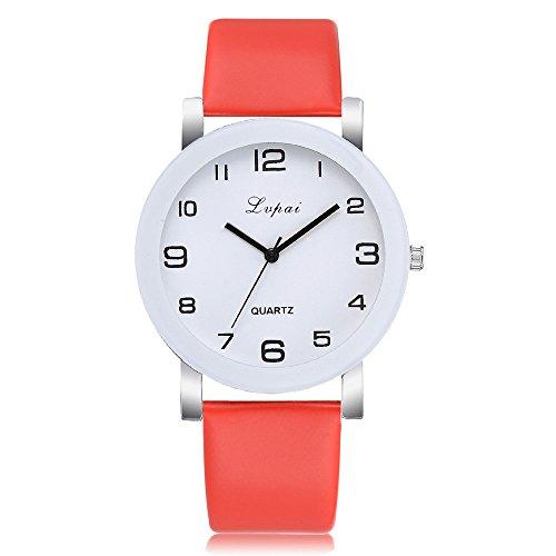 OutTop(TM) Lvpai Women's Quartz Watch Leather Band Belt Sport Analog Wrist Watch Dress Watch (Red)