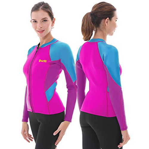 Goldfin Women's Wetsuit Top, 2mm Neoprene Wetsuit Jacket Long Sleeve Front Zip Wetsuit Shirt for Diving Snorkeling Surfing Kayaking Canoeing (Fuchsia, S)