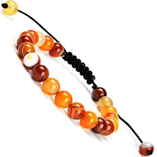 (Massive Beads Amber Agate 8mm Braided Macrame Bracelet Healing)