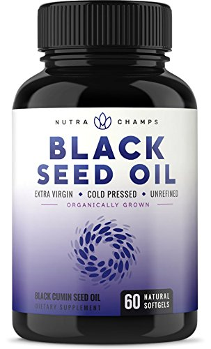 Organic Black Seed Oil Capsules [Extra Strength] Premium 1000mg Black Cumin Supplement - Nigella Sativa Softgels w/Thymoquinone & Omega 3 6 9 - Extra Virgin, Unrefined, Cold Pressed Unfiltered Pills ()