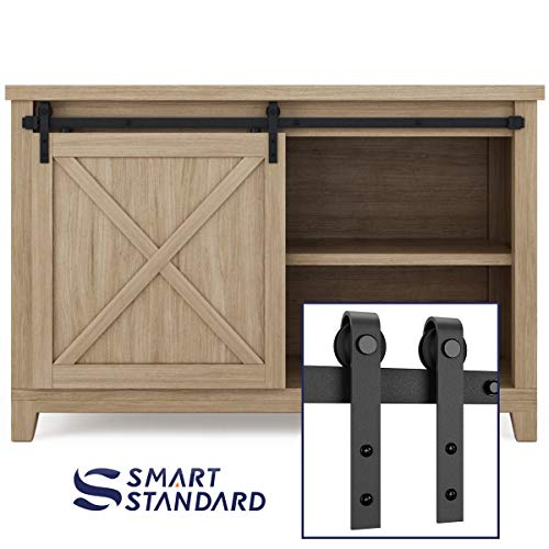 (SMARTSTANDARD 4ft Cabinet Barn Door Hardware Kit - Super Mini Sliding Door Hardware - for Cabinet TV Stand Console - Simple and Easy to Install - Fit 24