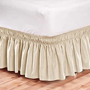 elastic bed skirt dust ruffle easy fit california king sizes size beige home kitchen. Black Bedroom Furniture Sets. Home Design Ideas