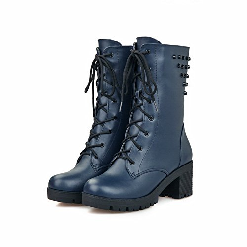 Imitated Zipper Boots Girls Blue Toe AdeeSu Platform Leather Round w5X6nTPx
