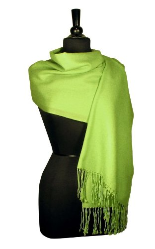 100% Pashmina GREEN Shawl Wrap. Woman's Scarf.